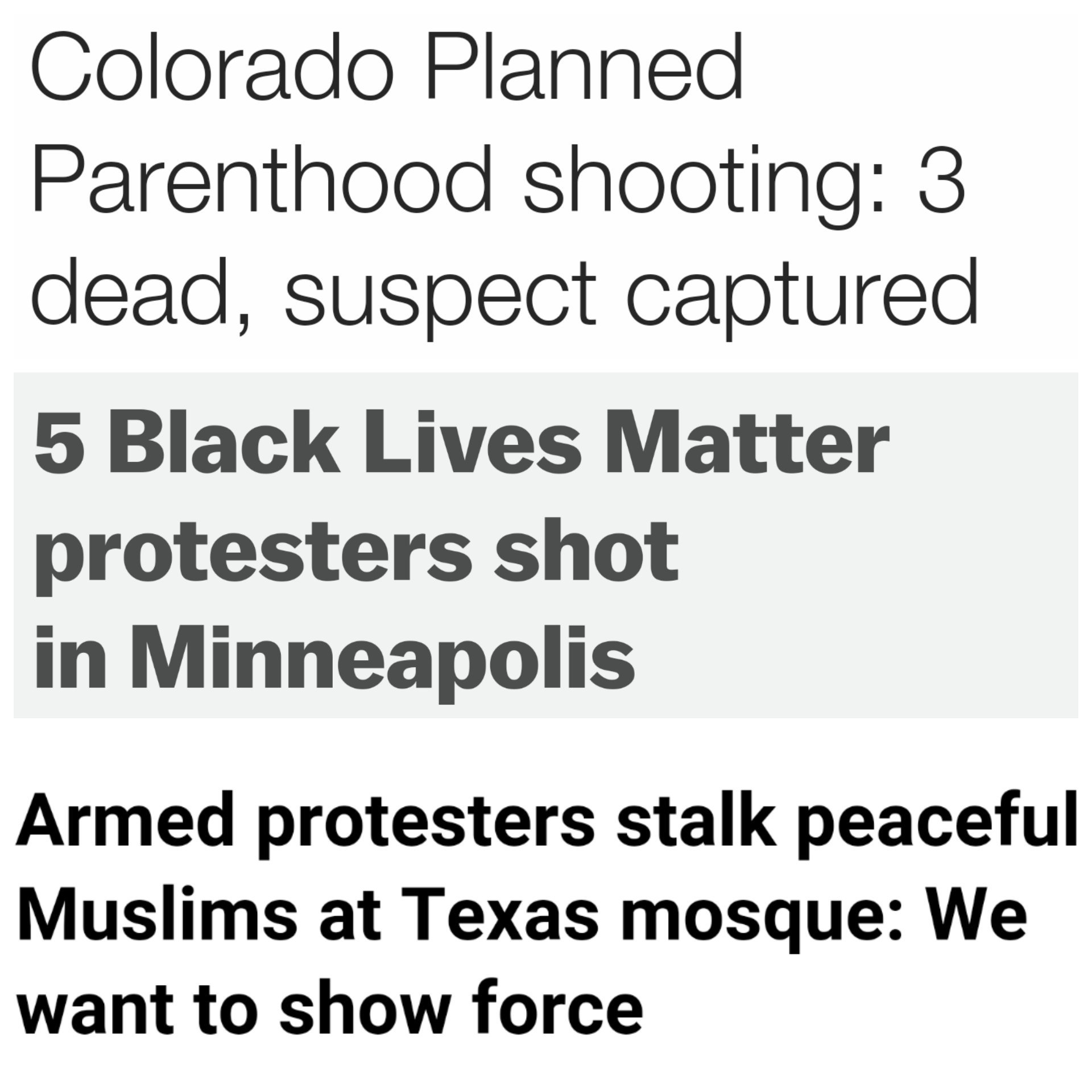RT @BFriedmanDC: Lots of domestic terrorism in the U.S. this week. All angry, armed white guys. https://t.co/Qv6FNemqz1