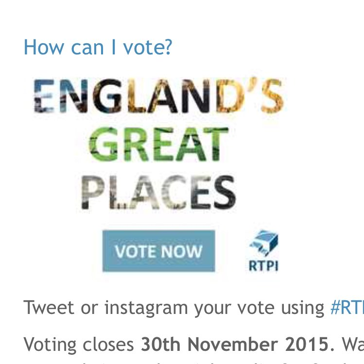 Still time to vote in @RTPIPlanners England's Great Places #rtpigreatplaces https://t.co/duvy18L2K2 https://t.co/YStPhz0t4h