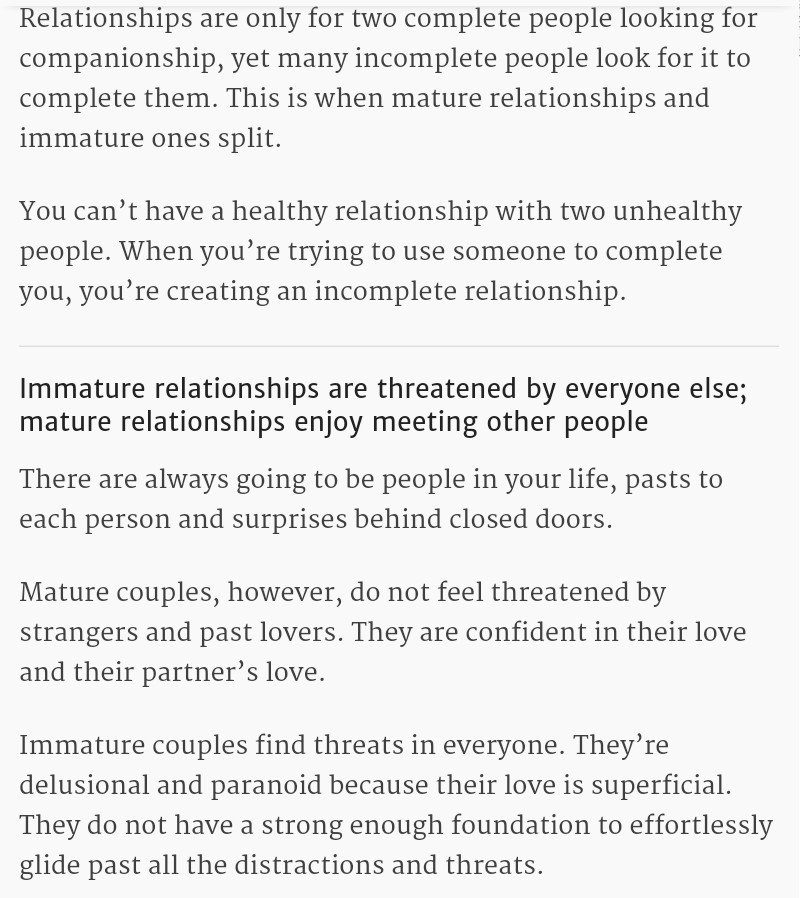 Immature relationships
