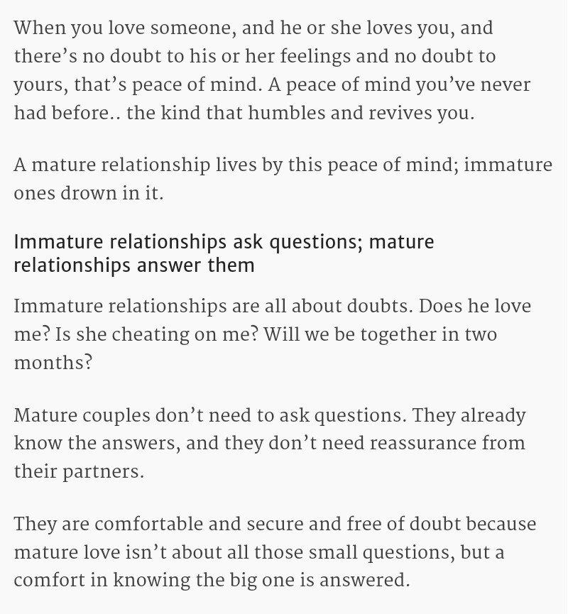 Mature love and immature love