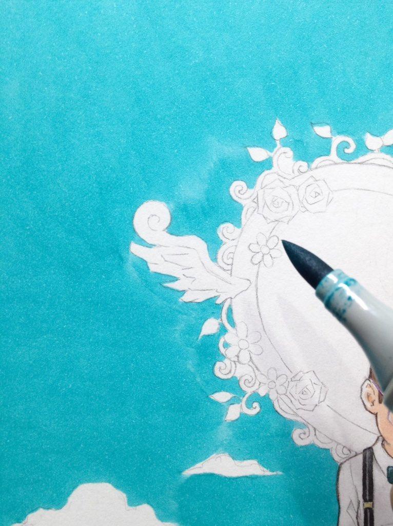 マーカーによる色ムラを色鉛筆の重ね塗りで消す技法。コツは根気。 pic.twitter.com/owFzaQF2be
