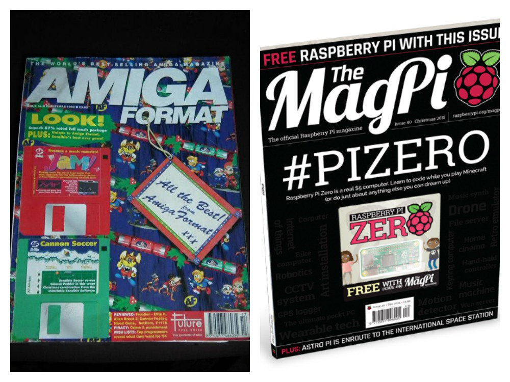 20 yrs of progress: 1995: Magazine with free floppy.  2015: Magazine with free computer.  https://t.co/NVN9nKUiN0 https://t.co/2qAqtqjg4K