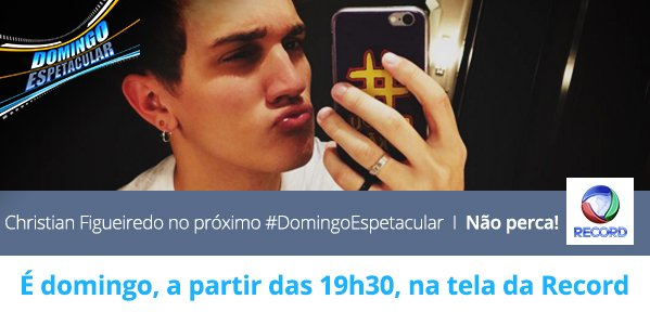Confira a vida offline de @Christian_fig, o jovem sucesso do YouTube, no #DomingoEspetacular https://t.co/Ssvc0irlkW