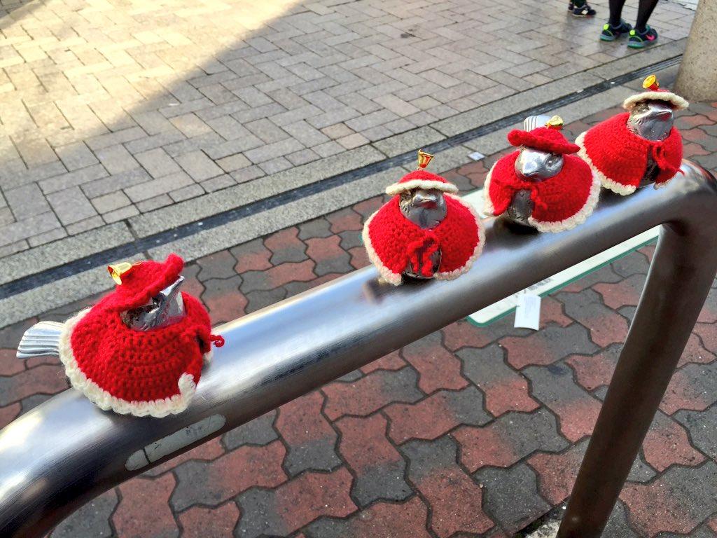 一昨日しましまだったのに、今日はサンタ仕様になってる江ノ電江ノ島駅前のスズメ達