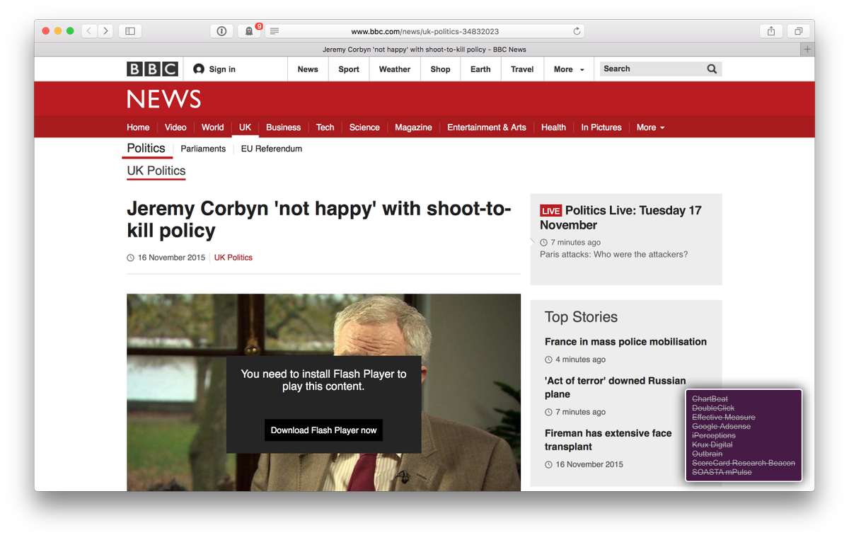"Dear @BBCNews, why are you lying to me?  ""You need to install Flash Player""  No, I just need to pretend I'm an iPad."