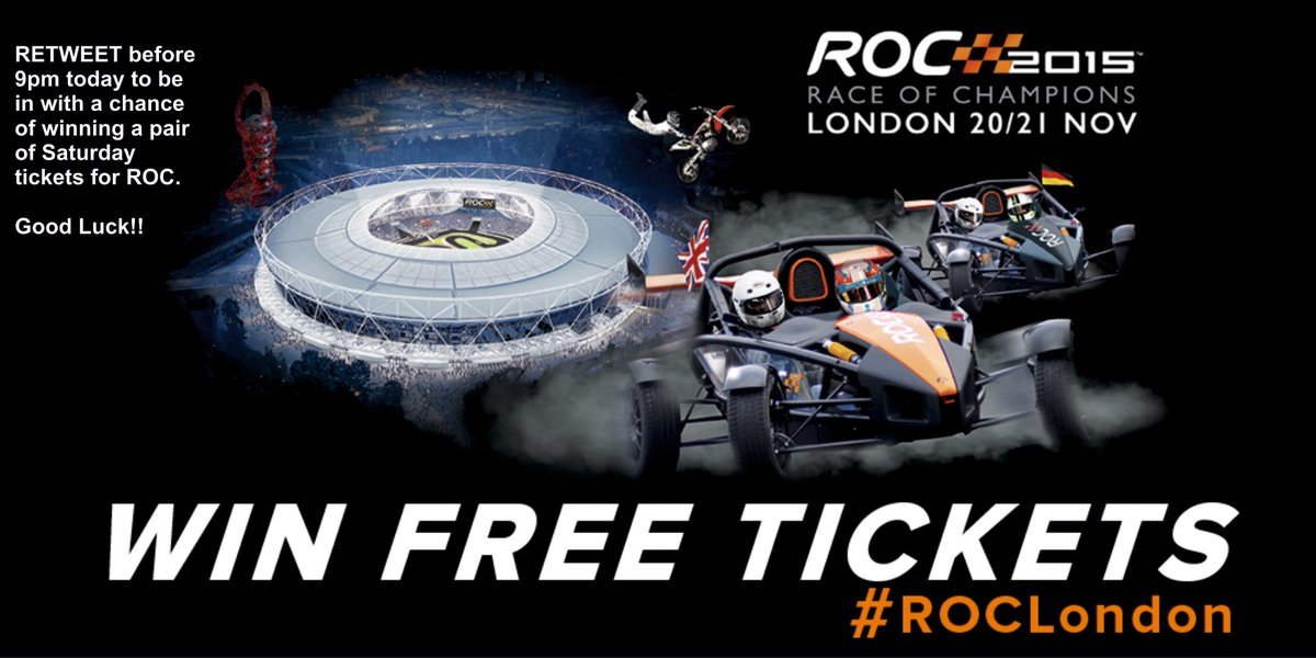 #WIN I've got 4 pairs of @RaceOfChampions Saturday tickets to give away. RT before 9pm to be entered into the draw! https://t.co/AKuN3mrNYw