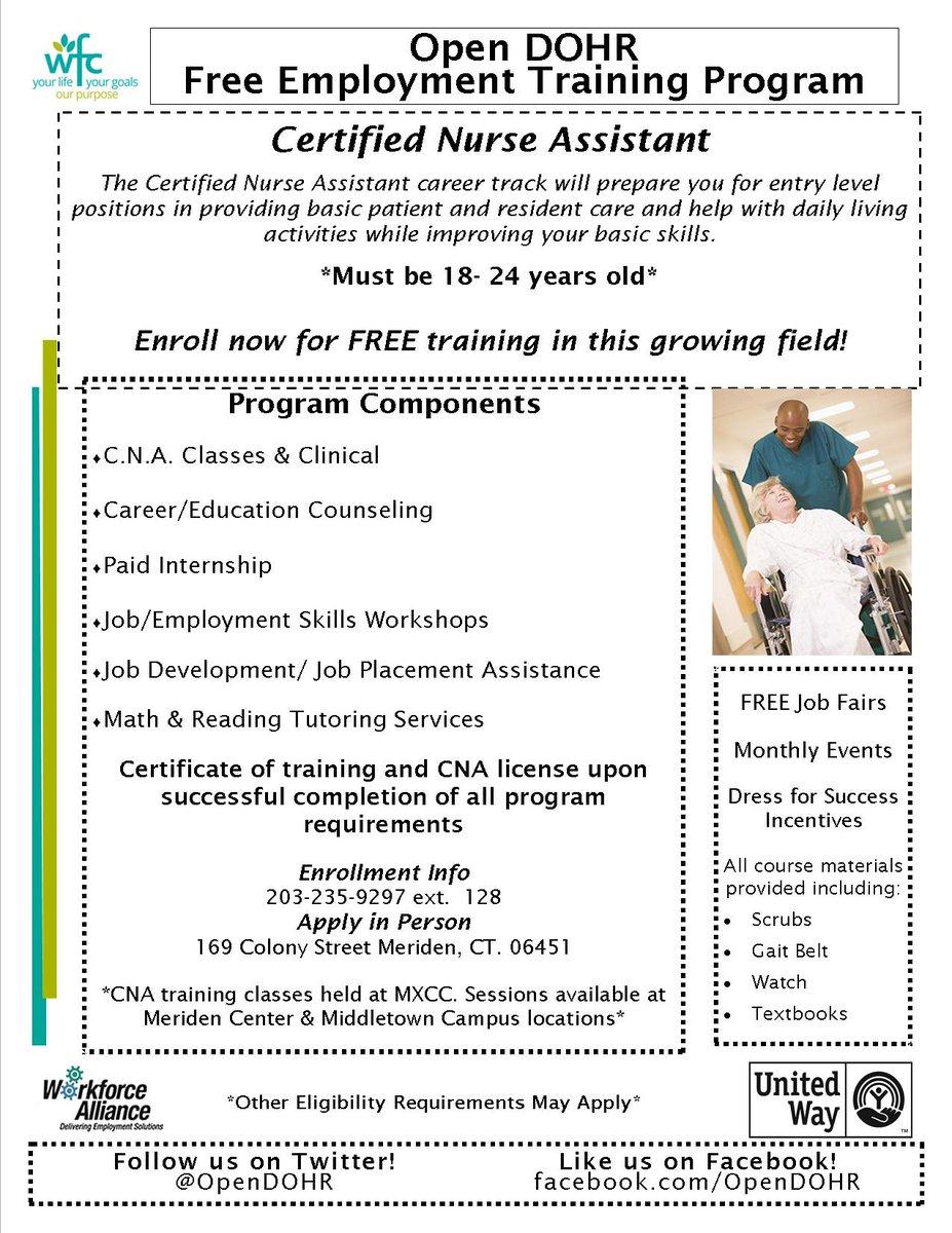Open Dohr On Twitter Free Cna Training Program Training