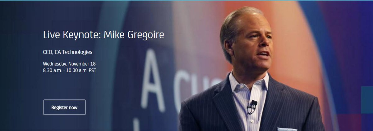 Register now to watch @CAinc CEO's Keynote live at #CAWorld on Wed 18th Nov - 8:30am PST https://t.co/YaSjejjGRr https://t.co/cKV6BIAxR9