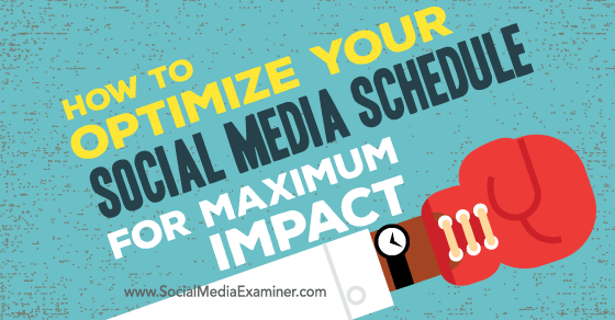 How to Optimize Your Social Media Schedule for Maximum Impact https://t.co/5tLbcTChNx by @njellering via @smexaminer https://t.co/QHEJee8FRk