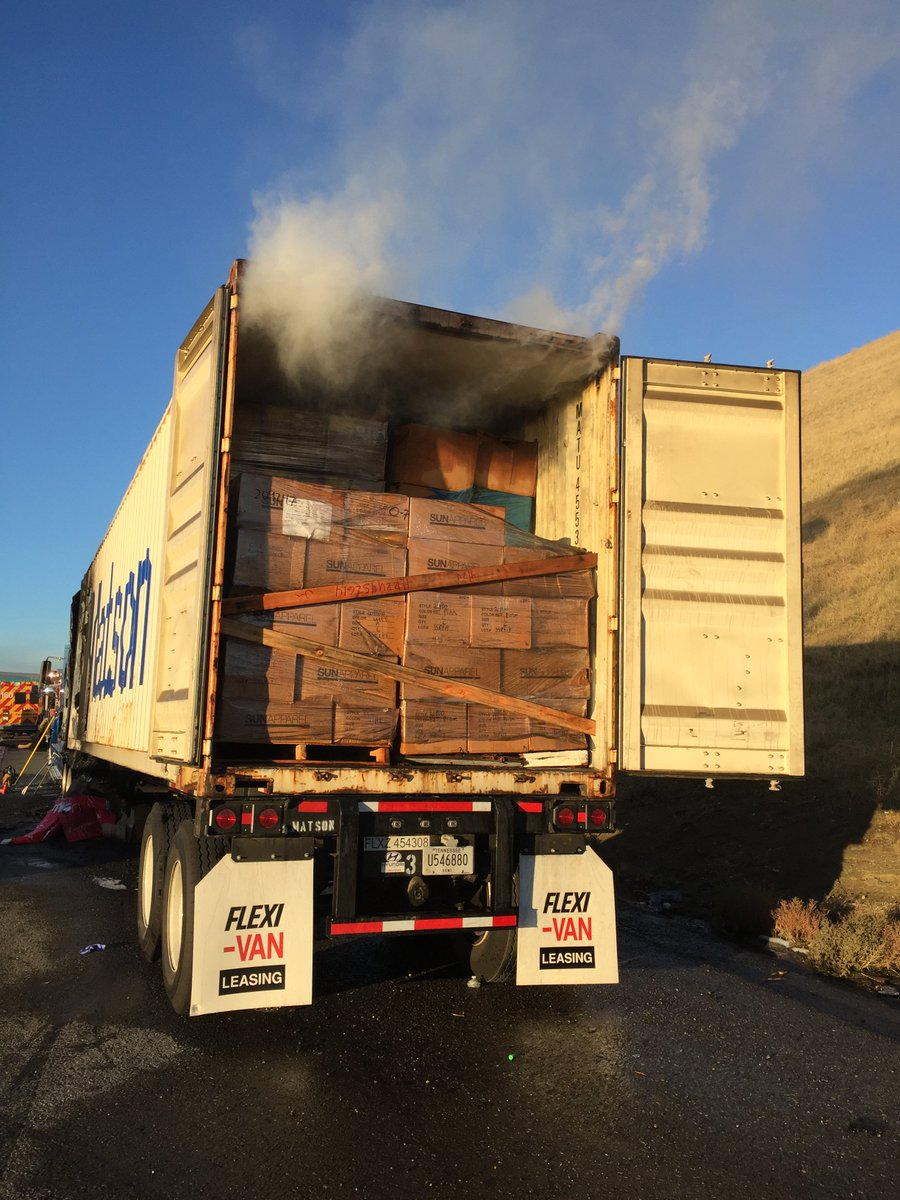 Pic: JUST IN: Pic of big-rig truck that caught on fire, jammed up