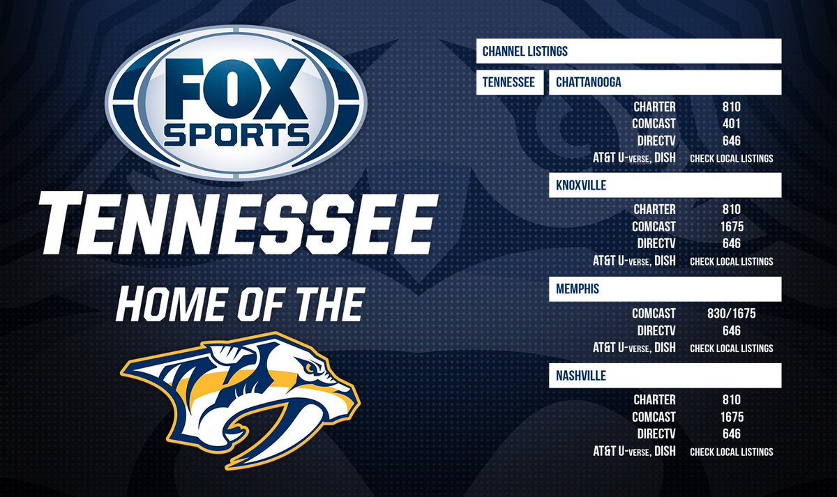 """fox sports tennessee on twitter: """"here are channel #'s for tonight's"""