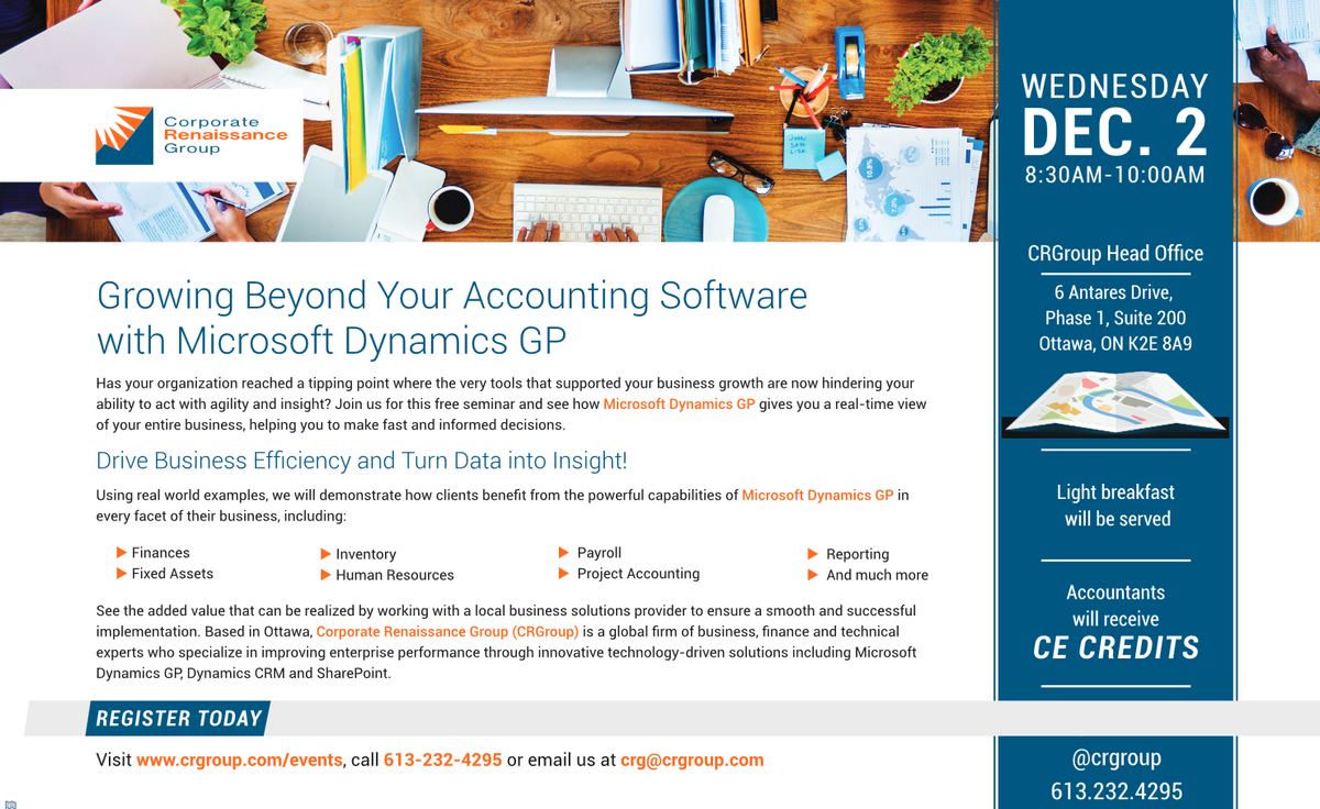 Wed, 2 Dec 2015 Growing Beyond Your Accounting Software with Microsoft Dynamics GP https://t.co/A1st72DcD4 #Ottbiz https://t.co/BBmhFIJzTc