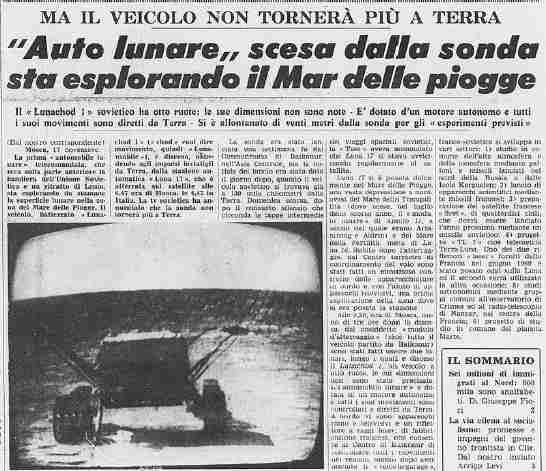 17/11/1970 - L'Unione Sovietica fa atterrare la Lunochod 1 sul Mare Imbrium della Luna.