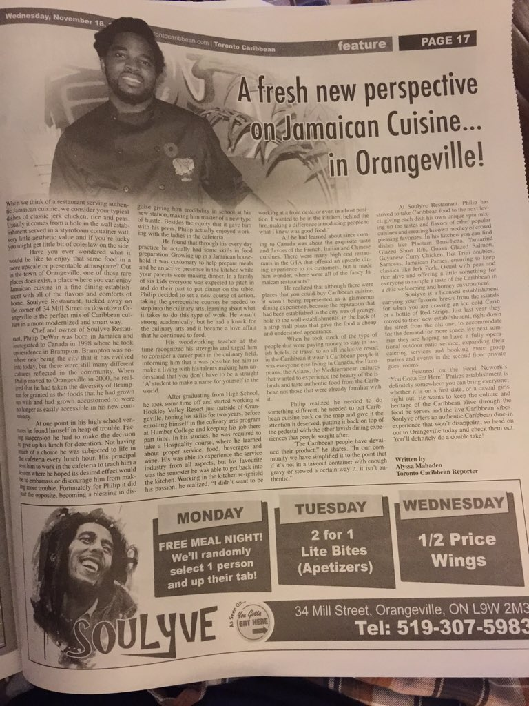 Philip and @Soulyve featured in this weeks @TOCaribNews #Orangeville #jamaican #restaurant #jerkfood https://t.co/tX3J0uzajx
