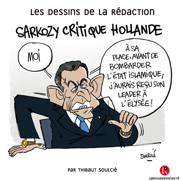 Le dessin de la rédaction par Soulcié @tsoulcie #Sarkozy #ParisAttacks #Diplomatie #DoubleRolex
