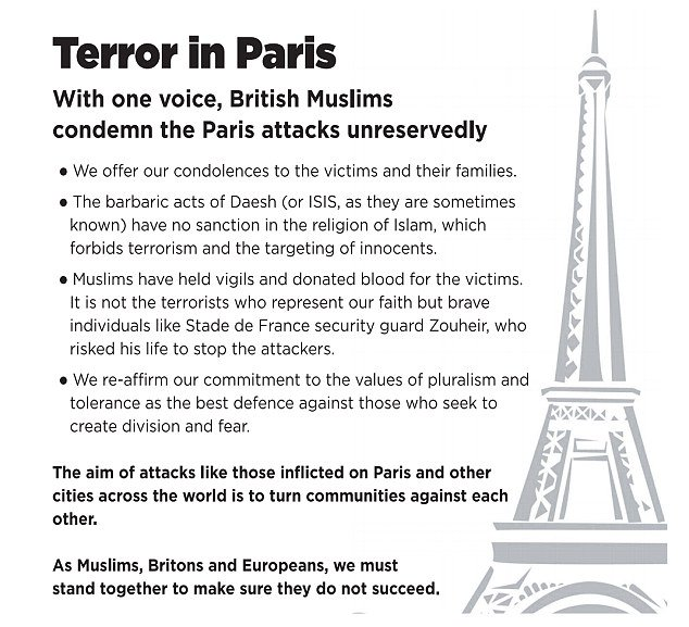 Ad placed in the British Press today by Muslim Council of Britain, on behalf of mosques and neighbourhood groups. https://t.co/mE9xVq7jlJ