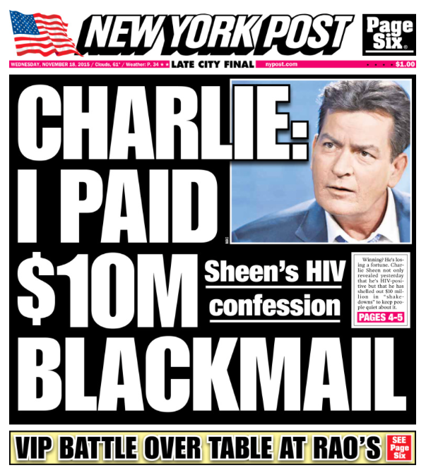 Today's cover: The latest on Charlie Sheen's HIV-positive announcement.