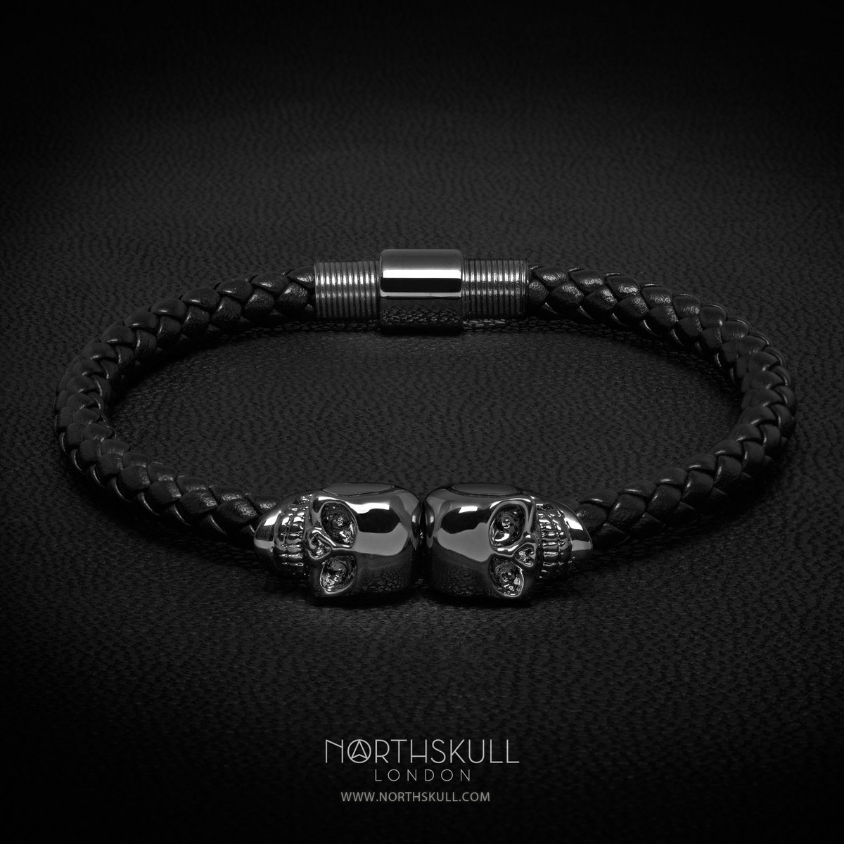 bracelets en bracelet black men skull leather northskull north