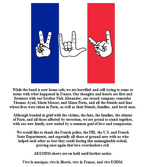 """Eagles Of Death Metal Band Members Release Statement Saying They Are """"Home Safe"""""""