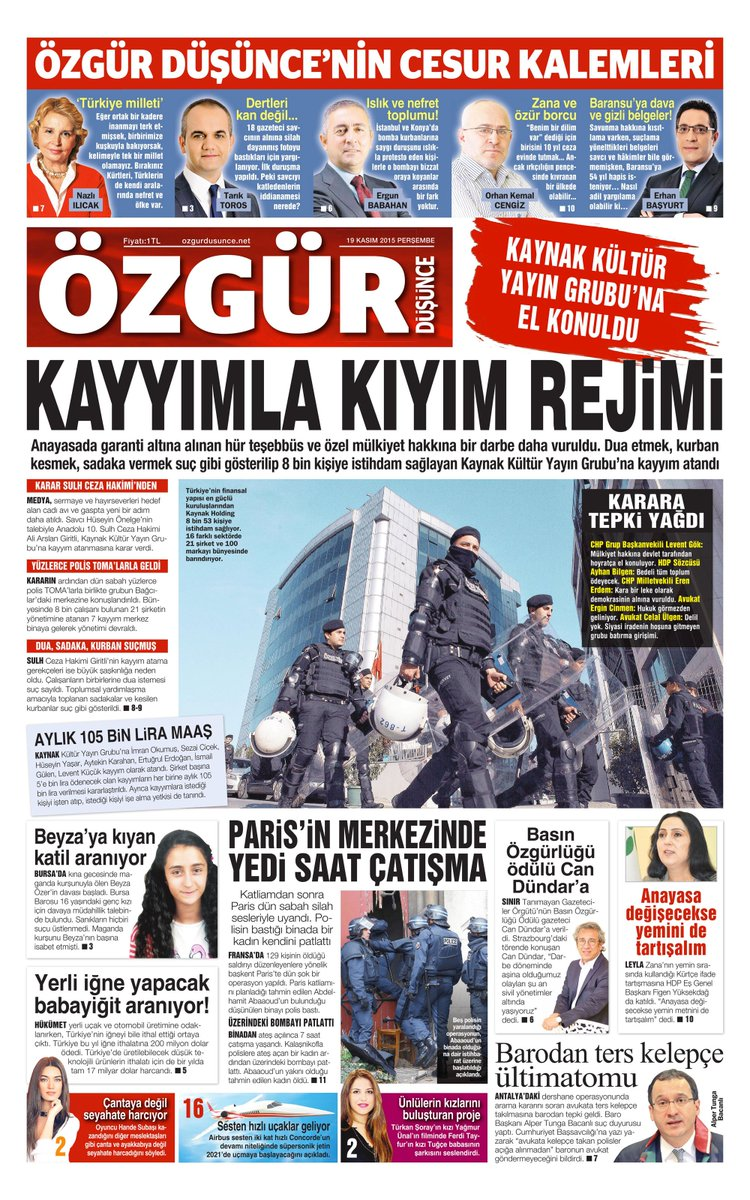 19 Kasım 2015 Tarihli Özgür Düşünce Gazetesi 1. Sayfası... https://t.co/akM6EY96xV