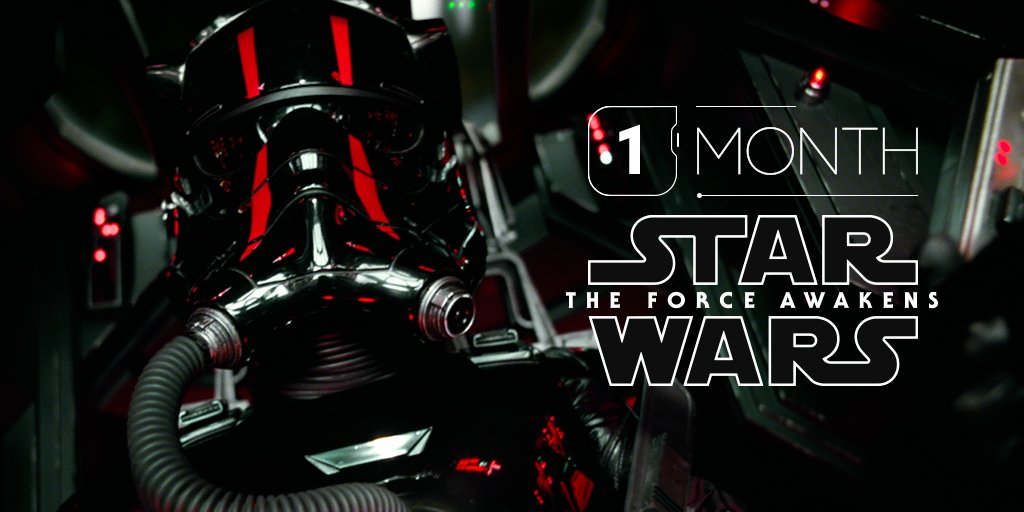 It's true. Only one month remains until #StarWars: #TheForceAwakens. 12/18/15