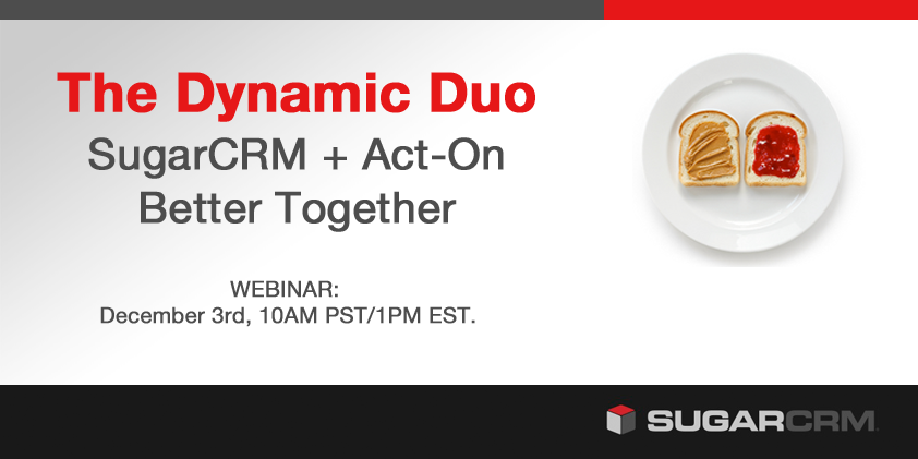".@SugarCRM and @ActOnSoftware teaming up for a ""Dynamic"" webinar! More: https://t.co/gZ9DuZFKTr #MarketingAutomation https://t.co/U1WBpc0ZSn"