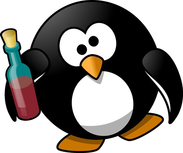 Смешной рисунок с пингвином