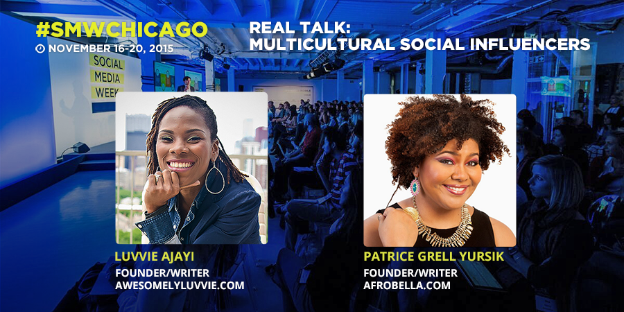 Tomorrow 3pm: Real Talk – Multicultural Social Influencers  @afrobella @Luvvie @Burrell_Comm #SMWChicago https://t.co/8MX80xc0oA