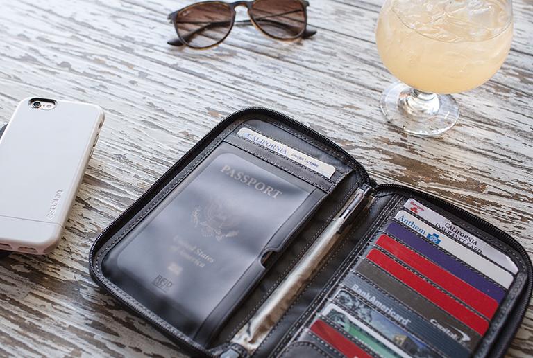 Heather Gray Incase Travel Passport Zip Wallet