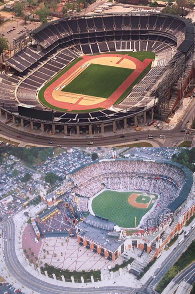 Centennial olympic stadium before and after conversion into turner ...