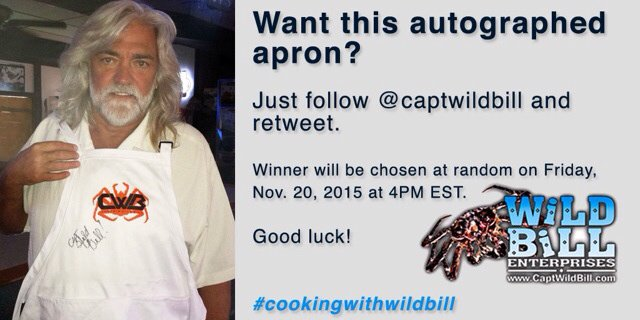 Win a signed apron! Follow @captwildbill & retweet before 4PM E Friday. #cookingwithwildbill https://t.co/Bia4tsBW9Z