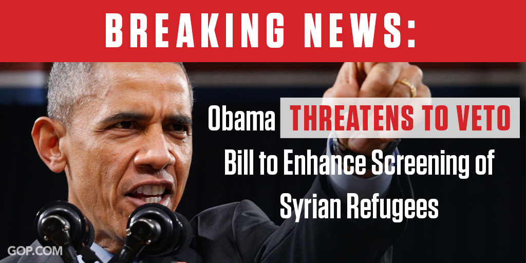 Obama threatens to veto Syrian refugee screening bill