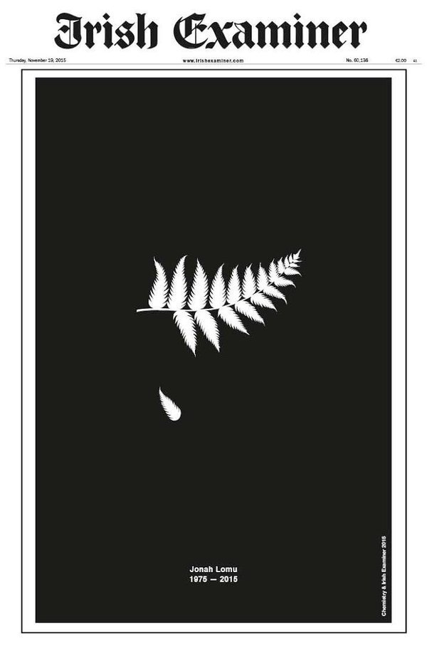 Front page of the Irish Examiner. Yes, the Irish Examiner. Well done. #JonahLomu https://t.co/vsshFJdWWu