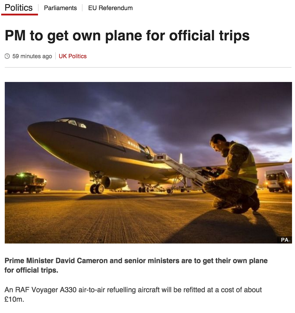"""In this week's """"We All In It Together"""": Dave gets a £10m plane while George hammers the poor with tax credit cuts. https://t.co/pe1U3YUj2q"""
