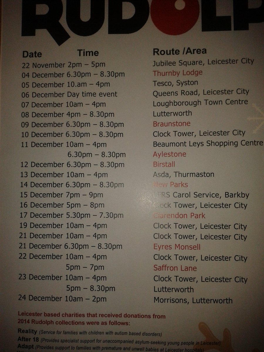 Rudolph routes for 2015 - make sure you come and see him!!!
