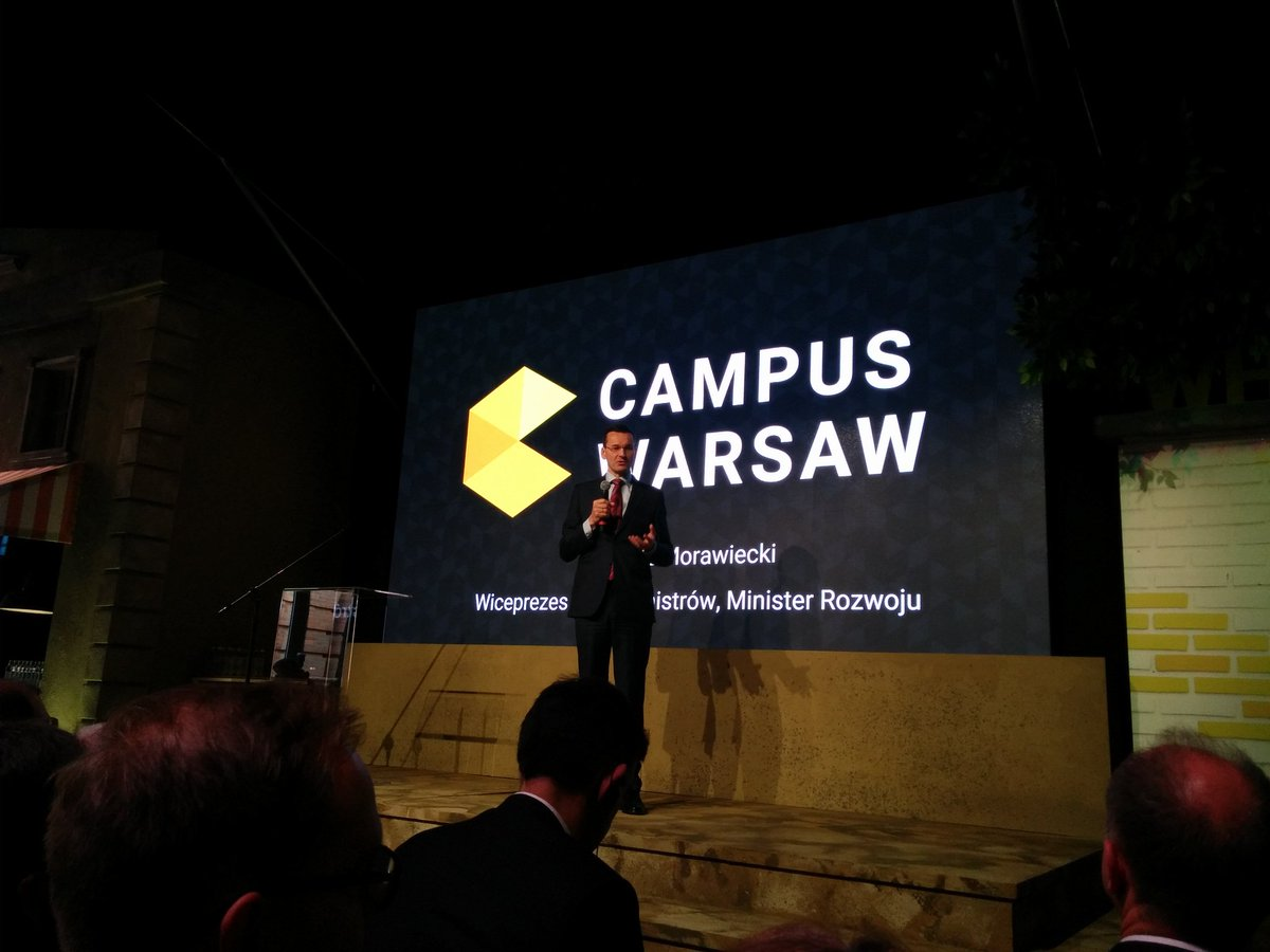 """Mateusz Morawiecki, deputy PM of Poland: """"best ideas happen over vodka"""" commenting the location of @CampusWarsaw https://t.co/e0sFudUHHG"""