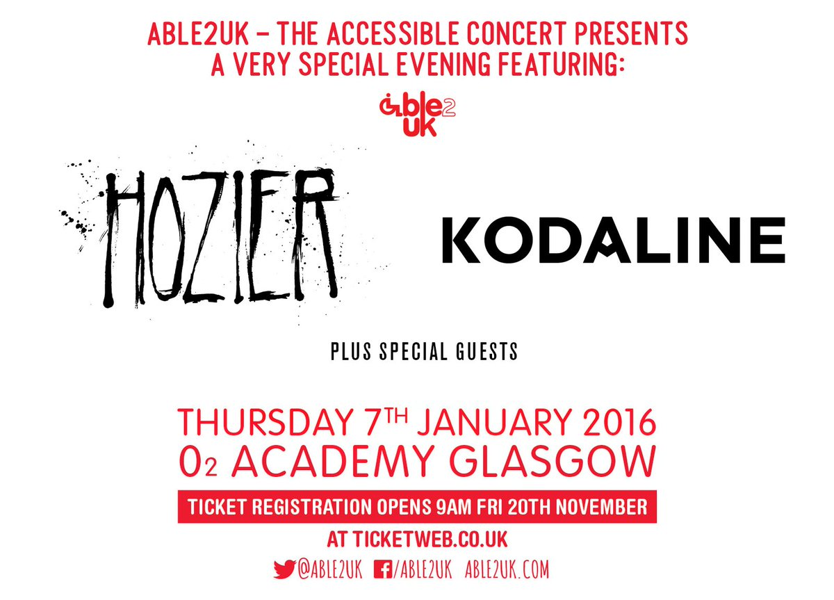 We are proud to announce @Hozier & @Kodaline are playing our concert on Jan. 7th in Glasgow https://t.co/abfOoaGI1o https://t.co/StPrQpsptj