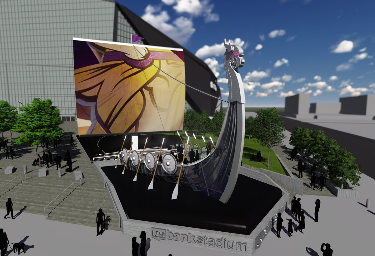 Cool stadium feature - Vikings ship with Video Board sail via @breakground #sportsbiz https://t.co/TsOBhhbspd https://t.co/rXmMYveoGK