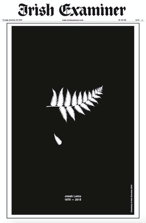 Classy, imaginative & (surely) award-winning tribute to the great Jonah Lomu from the @IrishExaminer. #Art https://t.co/LnPyZcxdiJ