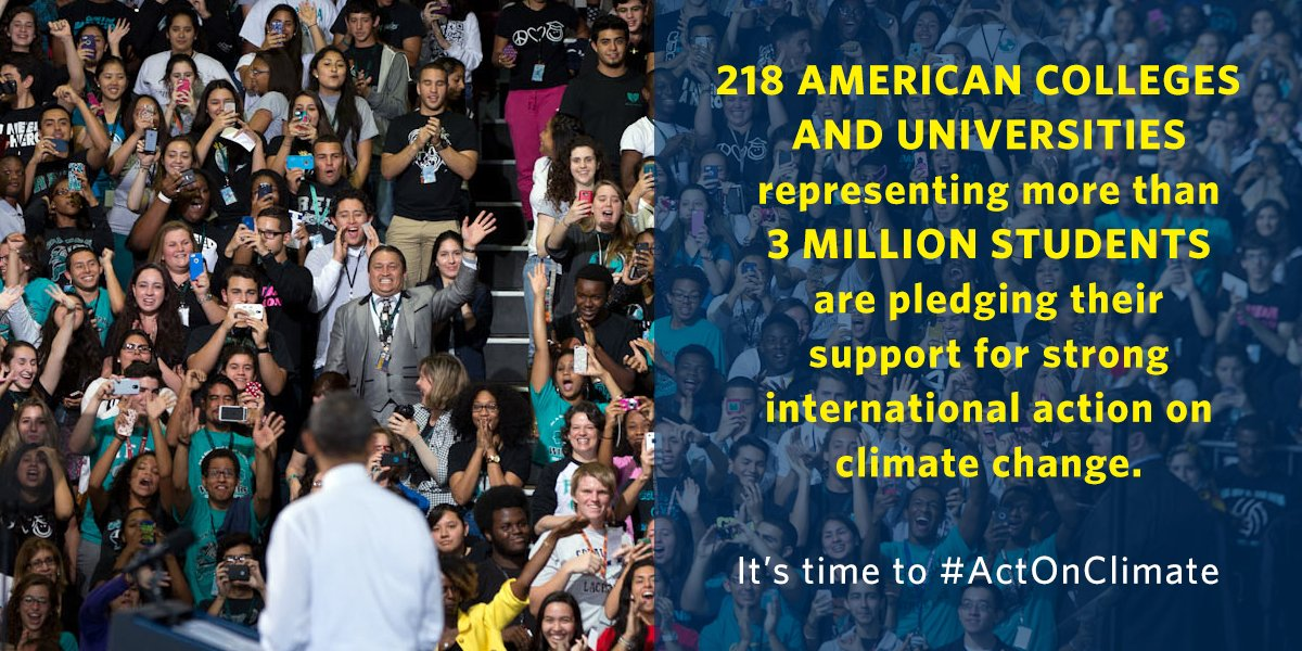 RT @WhiteHouseCEQ: RT the good news: 200+ American colleges & universities are committing to #ActOnClimate! → https://t.co/td4KEyMswQ https…