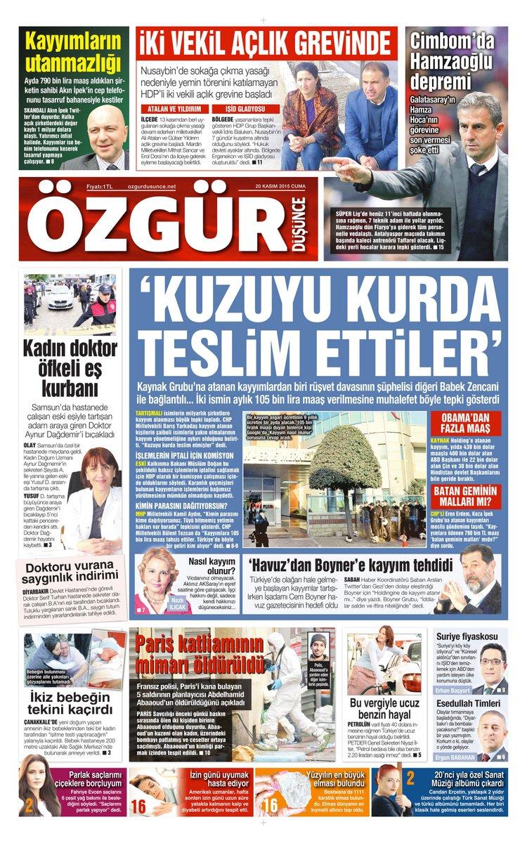 20 Kasım 2015 Tarihli Özgür Düşünce Gazetesi 1. Sayfası... https://t.co/Q9nVpzhDkX