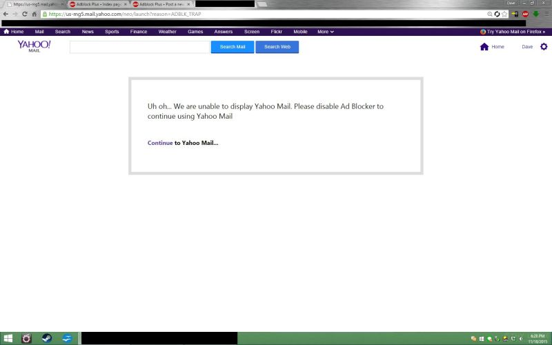 Yahoo Mail is barring ad-block users from seeing their emails. https://t.co/YVH3JrpgVO https://t.co/sRacSKCcae