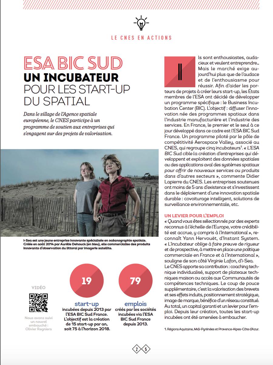 @ESABICSudFrance, incubateur pour les #startup du spatial avec #iSea accompagnée par @Bdx_Technowest (via @cnes)