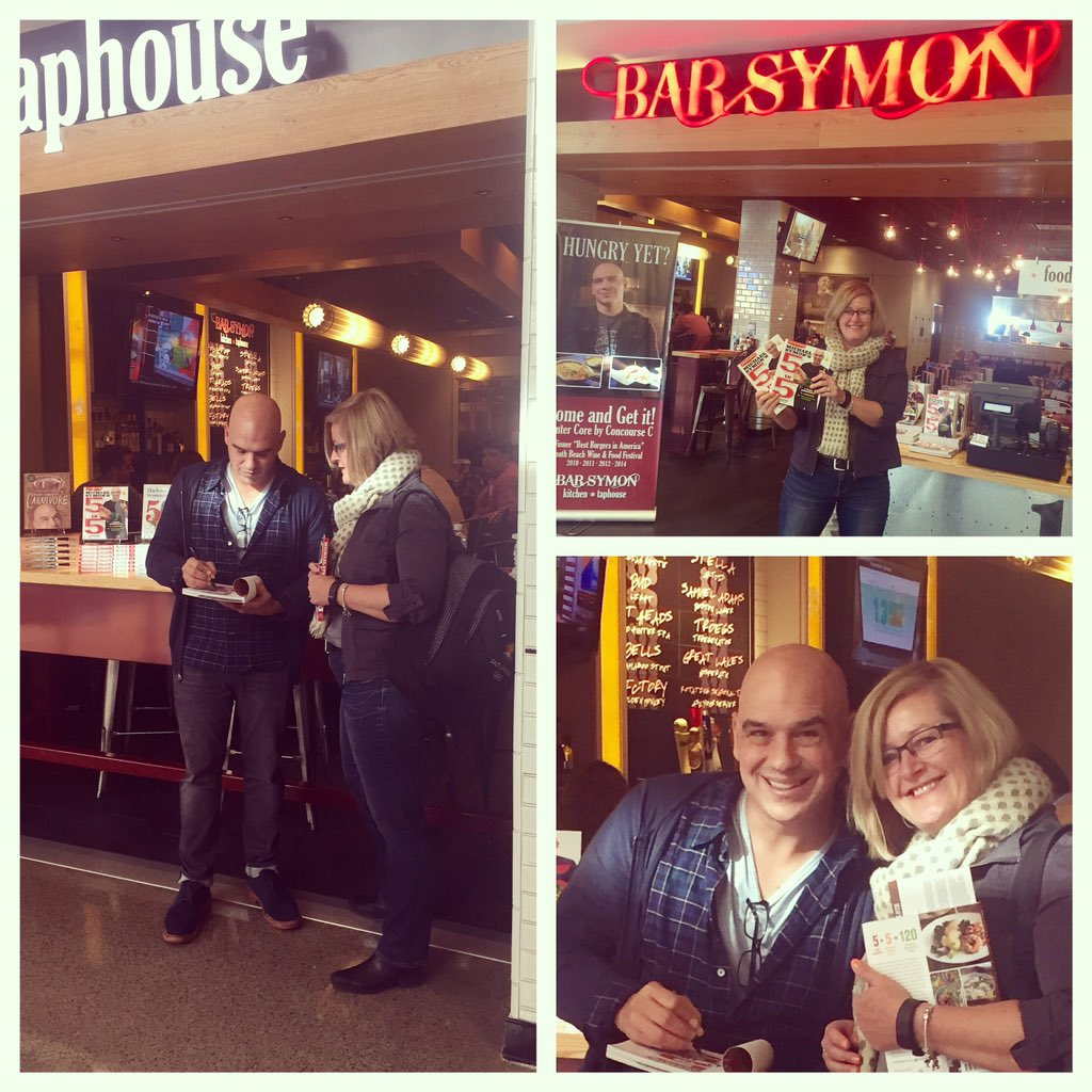 Bonus for early arrival at the airport. Meet and greet and book signing with @MichaelSymon #timewithmomanddad