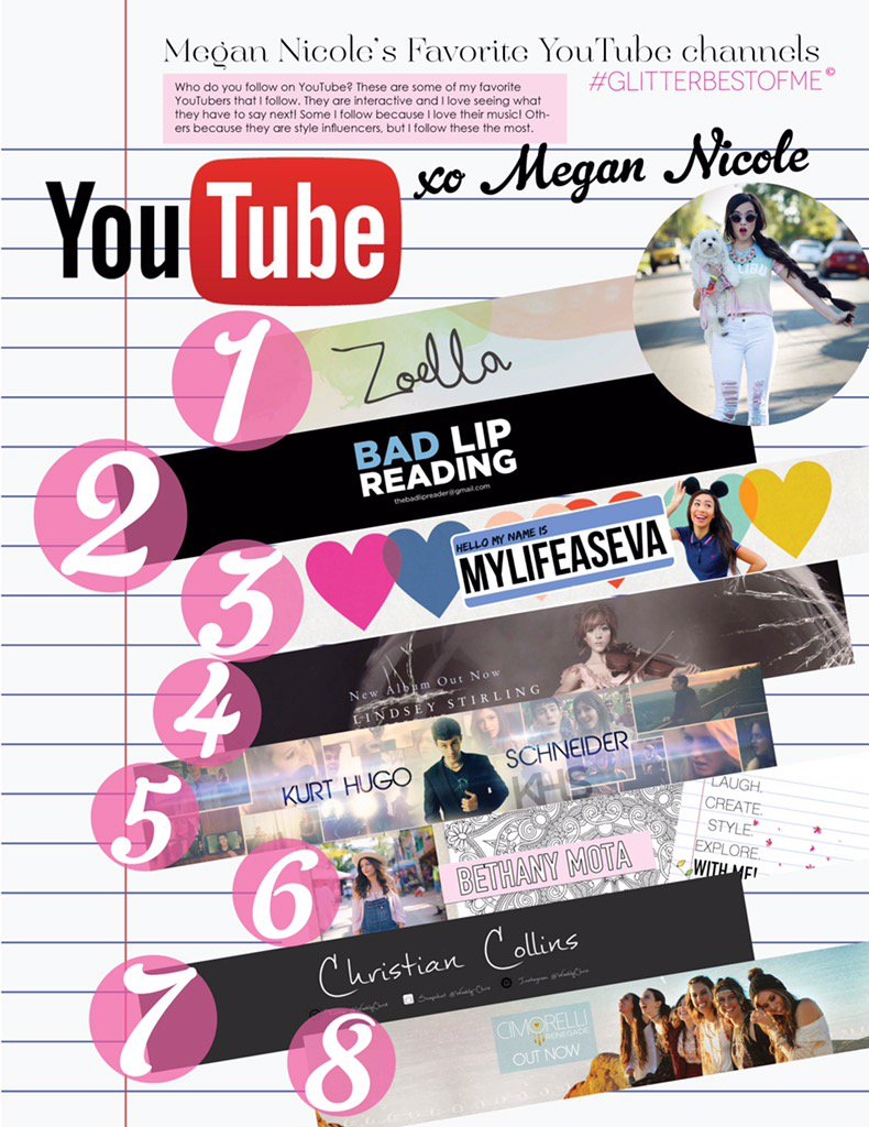 Chk out @megannicole's fav #Youtubers! Find out more in her #GlitterBestOfMe issue at https://t.co/UBBs7y7pp8