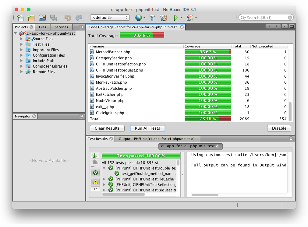 Screenshot: Running tests on NetBeans 8.1