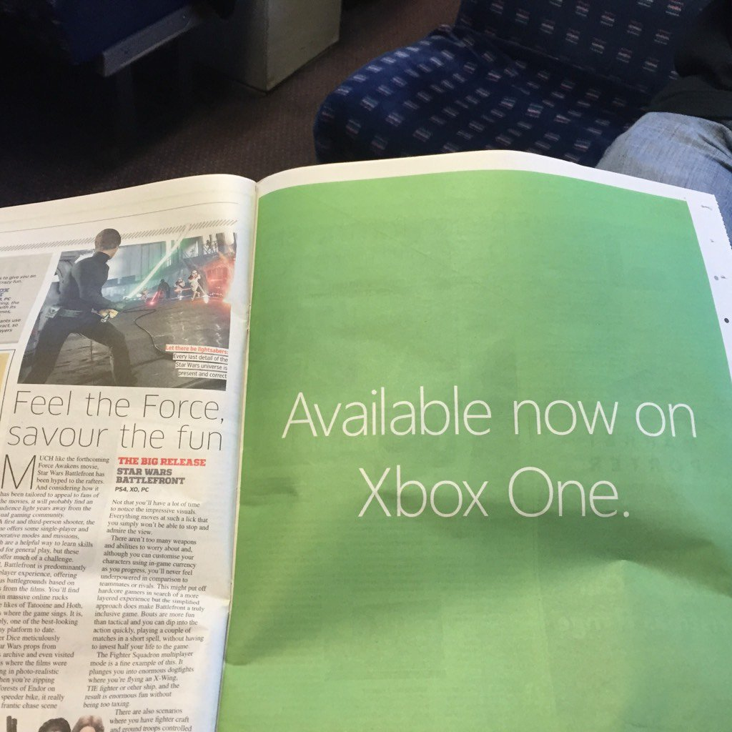 Sony has an exclusive marketing deal for Battlefront. Microsoft complies with this well-placed newspaper advert: https://t.co/X1HS2eUFnQ