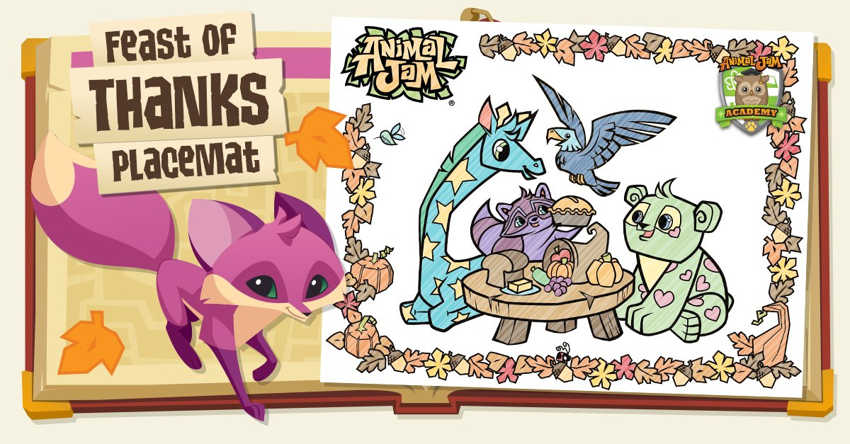 Animal Jam On Twitter Download AJ Academys FEAST OF THANKS Placemat Today Thanksgiving Craft Tco H6gndaQDrW XAcnvVSIbO