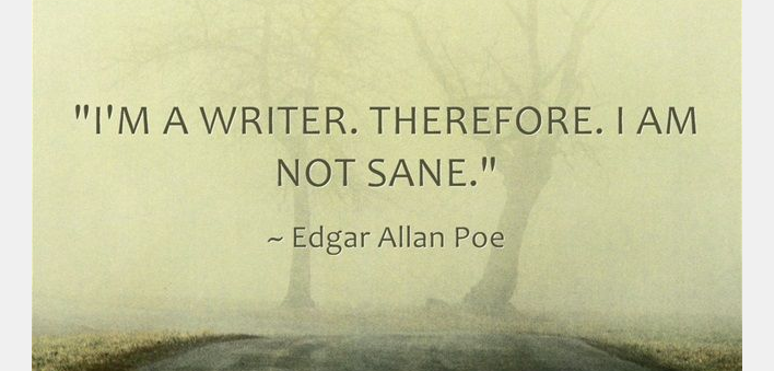 """I am a writer. Therefore, I am not sane."" – Edgar Allan Poe https://t.co/2XQlXjjI6z"