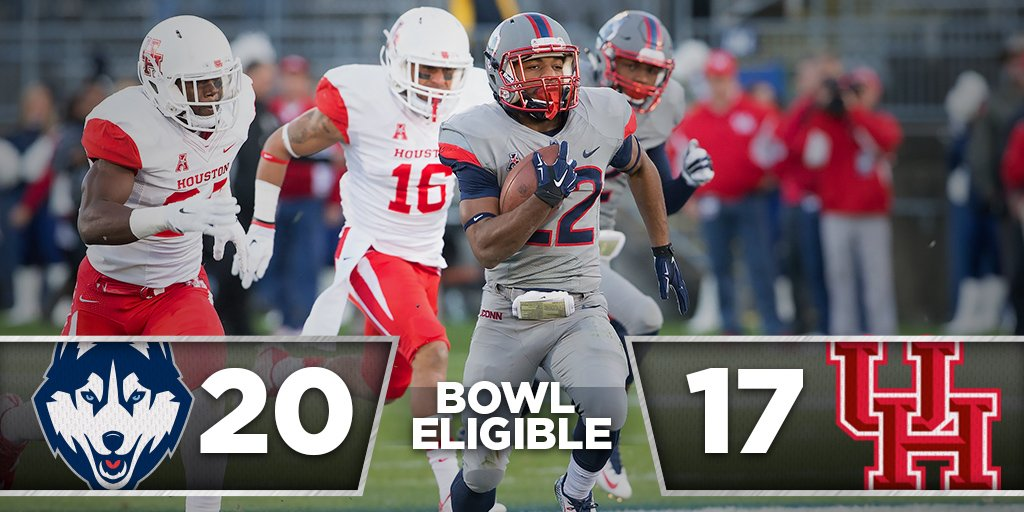 Running all the way to bowl eligibility! #UConn knocks off previously-unbeaten Houston, 20-17! #BleedBlue https://t.co/HJJBIoUjhI